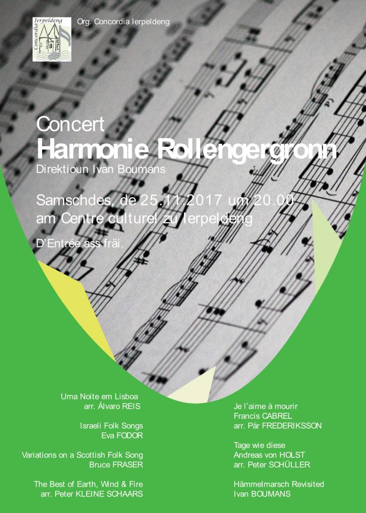 Concert vun Harmonie Rollengergronn @ Ierpeldeng / Sauer am Centre Culturel & Sportif